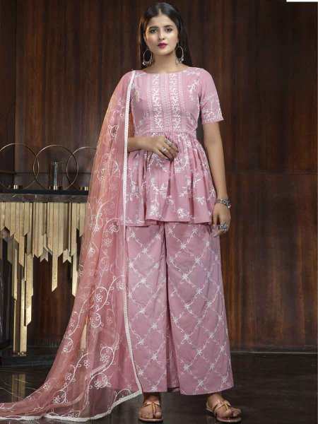 Salmon Pink Georgette Embroidered Party Palazzo Pant Kameez