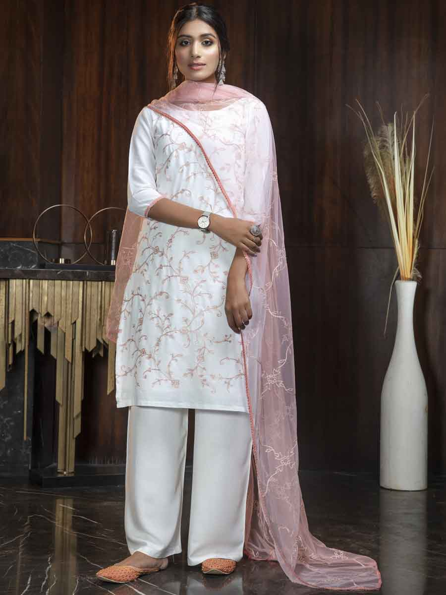 White Georgette Embroidered Party Palazzo Pant Kameez