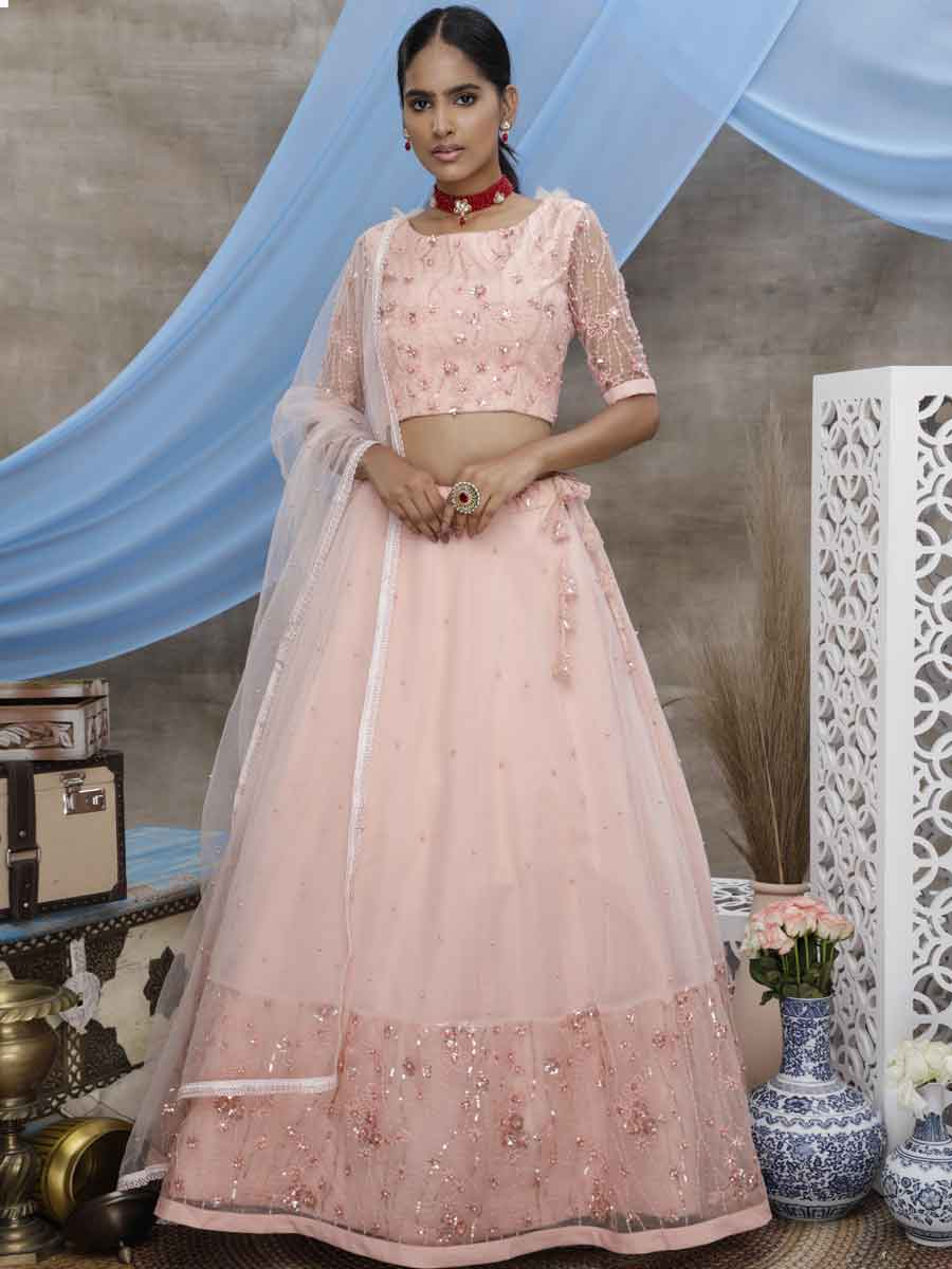 Light Coral Pink Net Embroidered Party Lehenga Choli