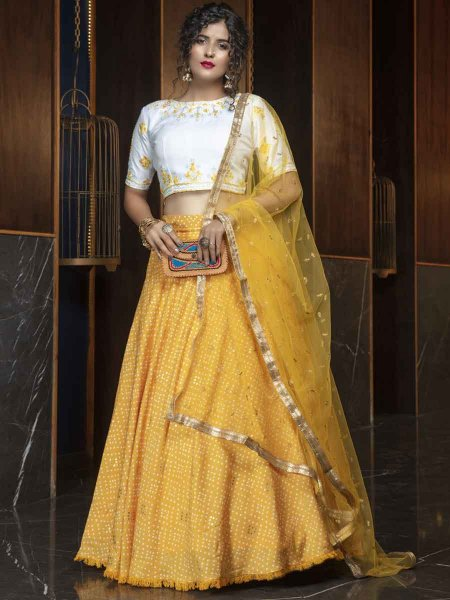 Mustard Yellow Cotton Designer Party Lehenga Choli