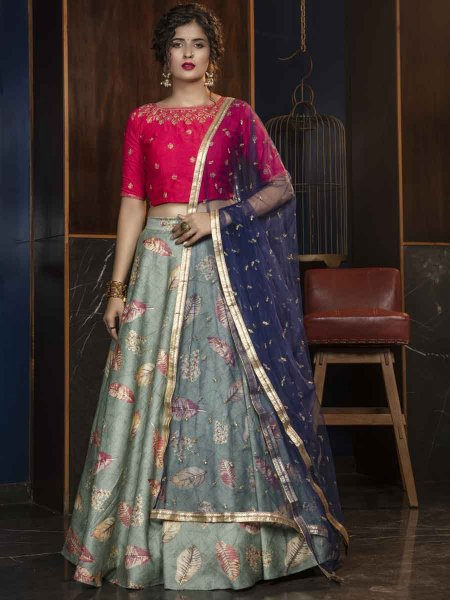 Moss Green Rayon Designer Party Lehenga Choli
