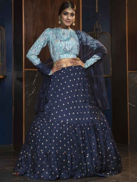Navy Blue Cotton Designer Party Lehenga Choli