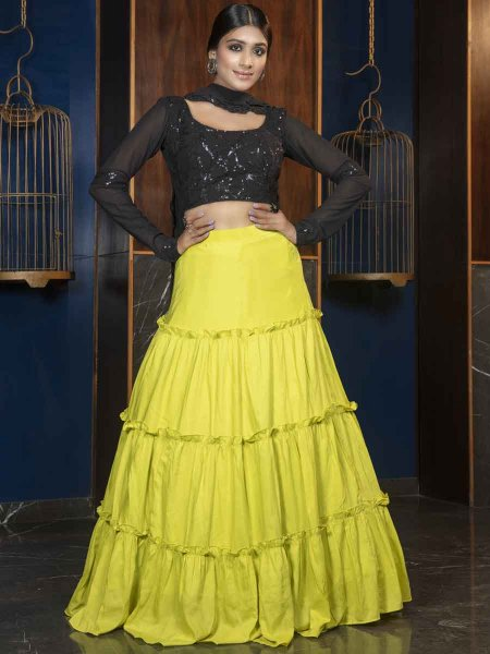 Pear Green Muslin and Cotton Designer Party Lehenga Choli