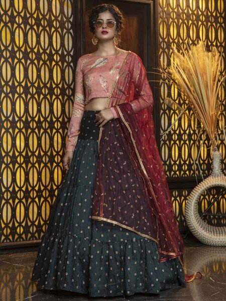 Pine Green Cotton Embroidered Party Lehenga Choli