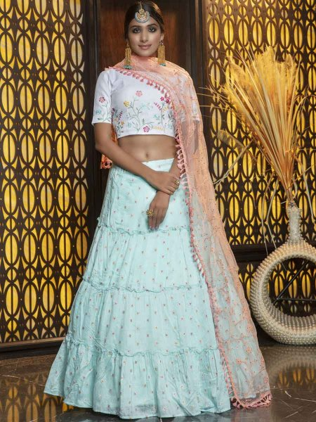 Sky Blue Cotton Embroidered Party Lehenga Choli