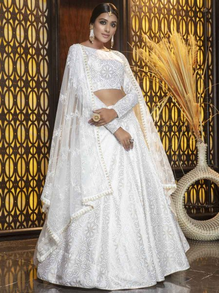 White Cotton Embroidered Party Lehenga Choli
