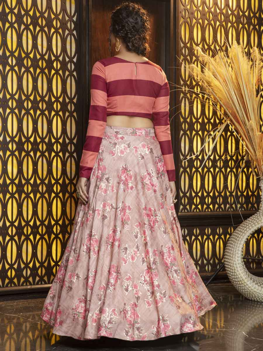Tea Rose Pink Rayon Embroidered Party Lehenga Choli