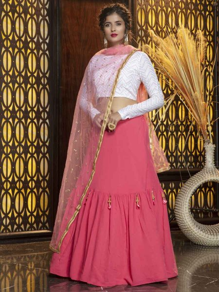 Brink Pink Faux Georgette Embroidered Party Lehenga Choli