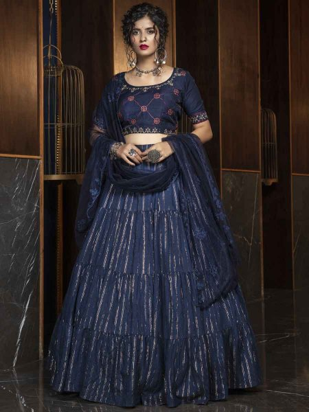 Navy Blue Cotton Embroidered Party Lehenga Choli