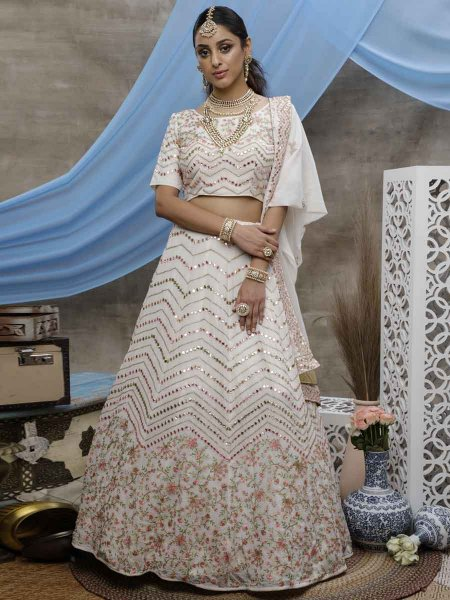 White Faux Georgette Embroidered Festival Lehenga Choli
