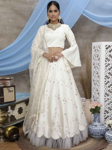 White Art Silk Embroidered Festival Lehenga Choli