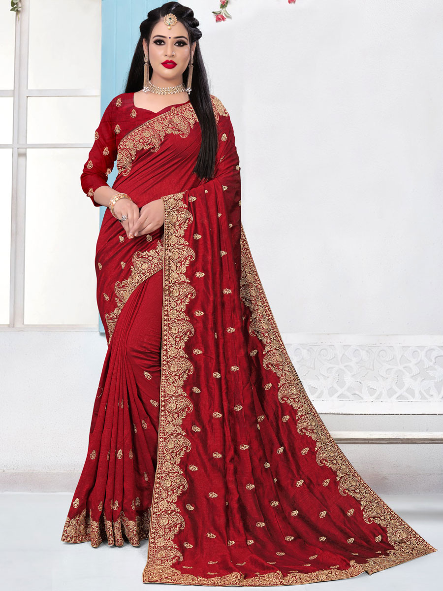 Venetian Red Vichitra Silk Embroidered Festival Saree
