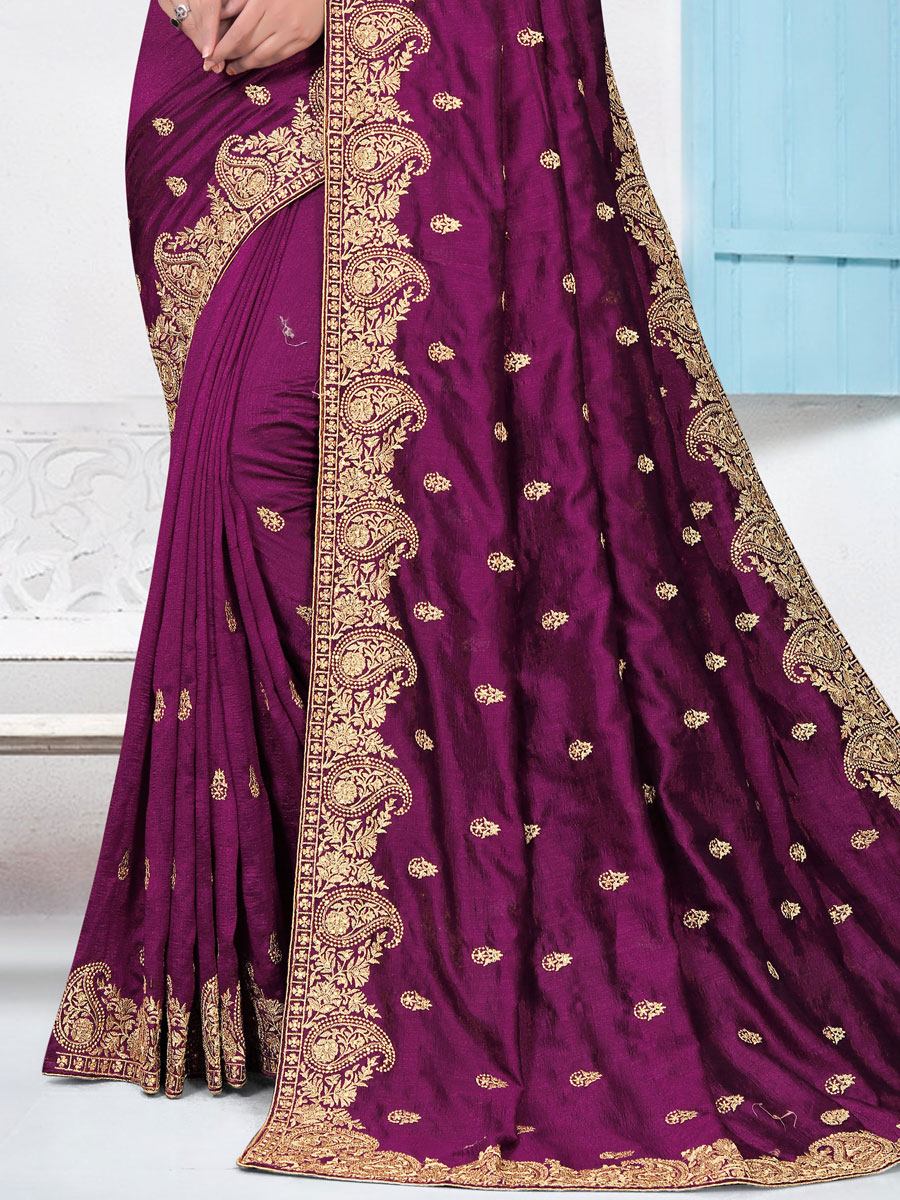 Byzantium Purple Vichitra Silk Embroidered Festival Saree
