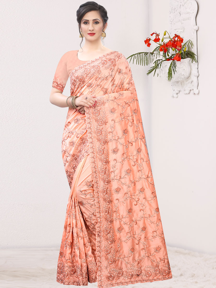 Coral Pink Silk Embroidered Festival Saree