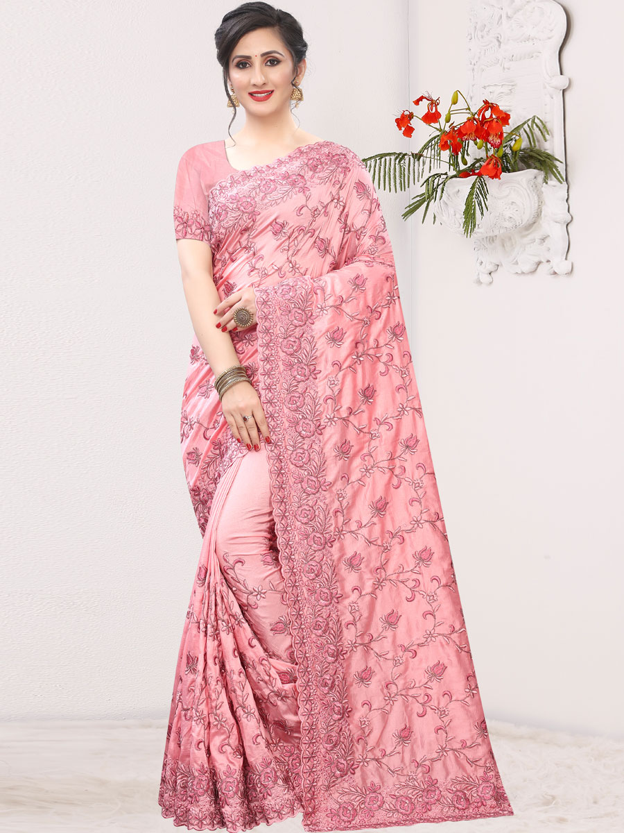 Salmon Pink Silk Embroidered Festival Saree