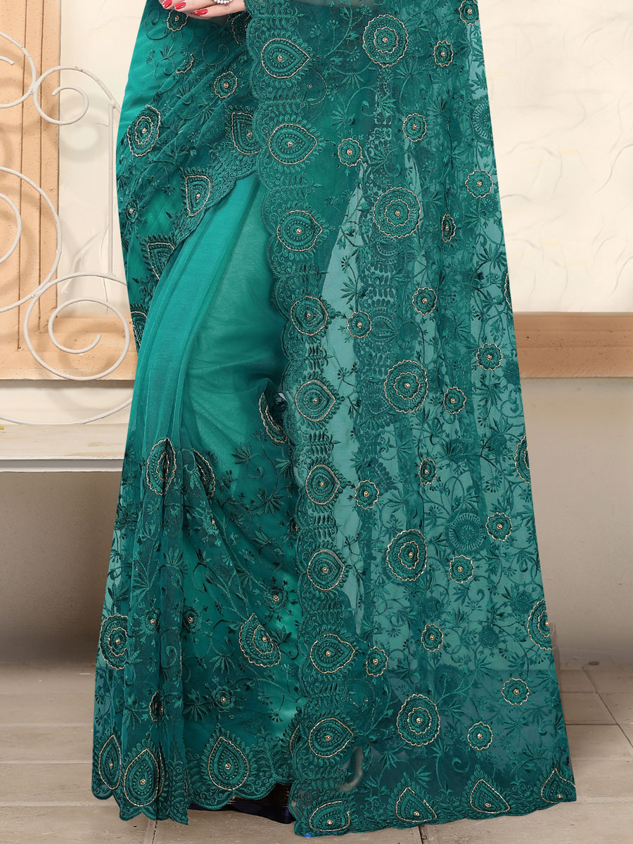 Pine Green Net Embroidered Party Saree