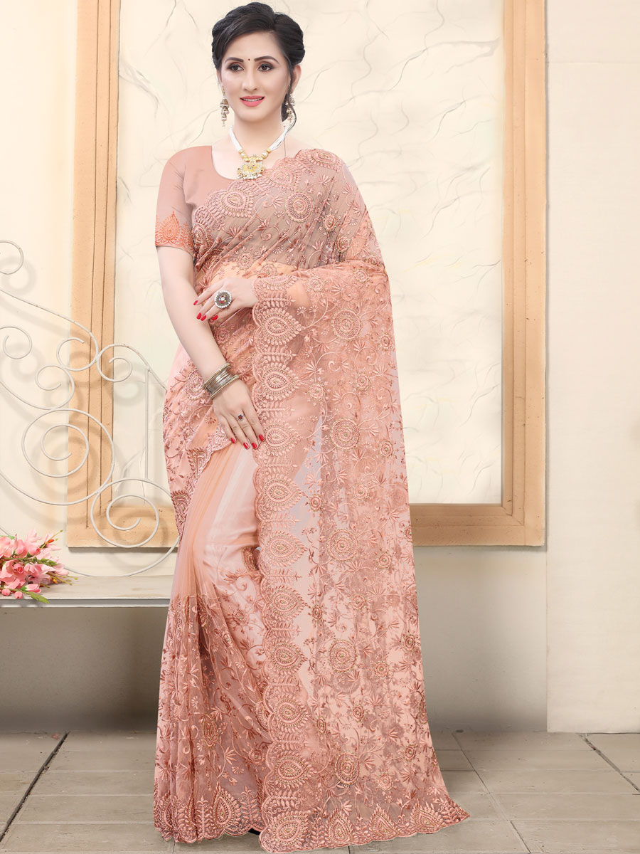 Coral Pink Net Embroidered Party Saree