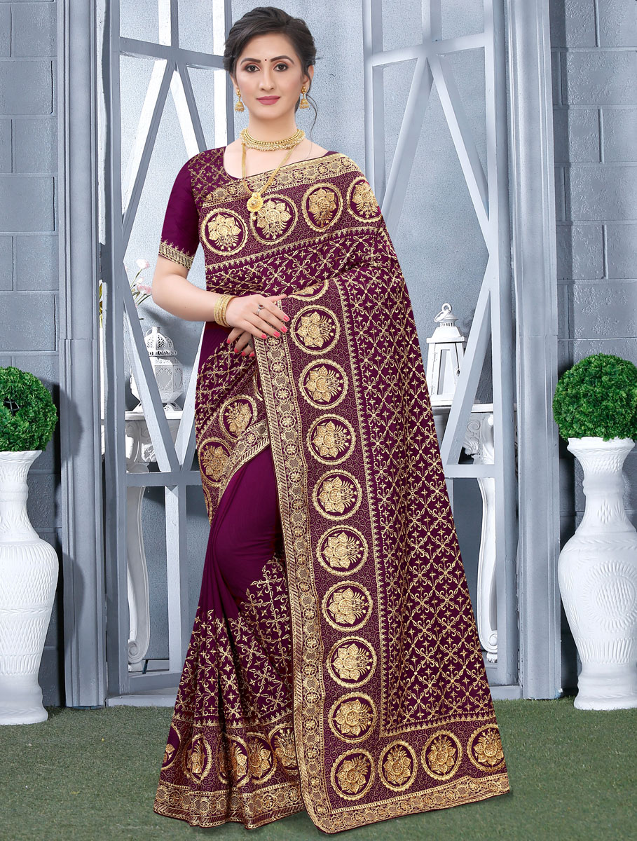 Wine Red Vichitra Silk Embroidered Festival Saree