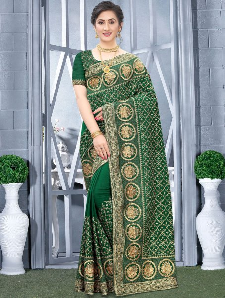 Dark Green Vichitra Silk Embroidered Festival Saree