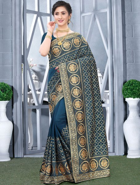 Teal Blue Vichitra Silk Embroidered Festival Saree