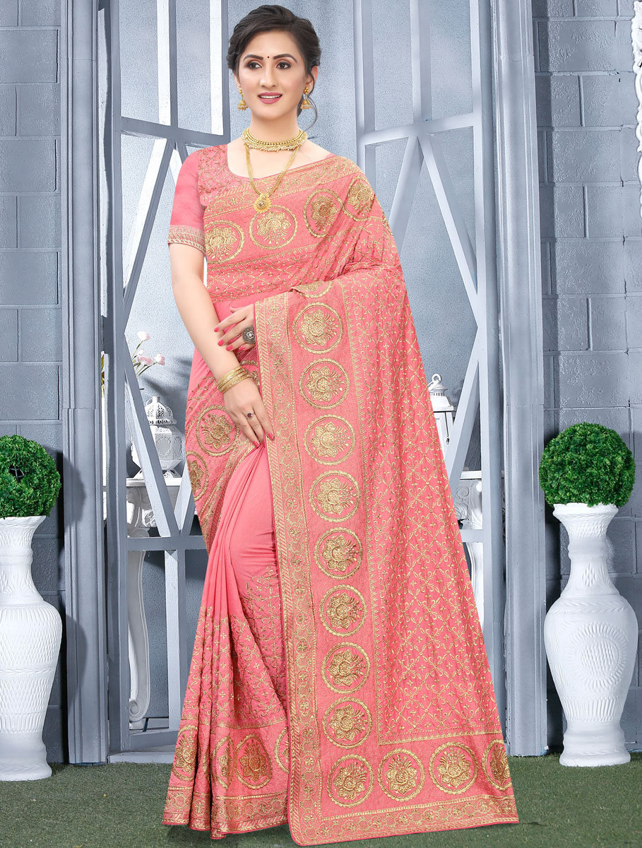 Coral Pink Vichitra Silk Embroidered Festival Saree