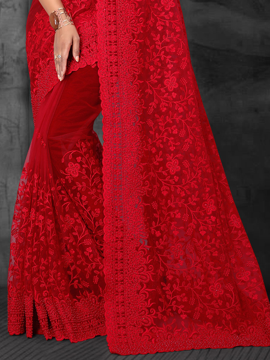 Venetian Red Net Embroidered Party Saree