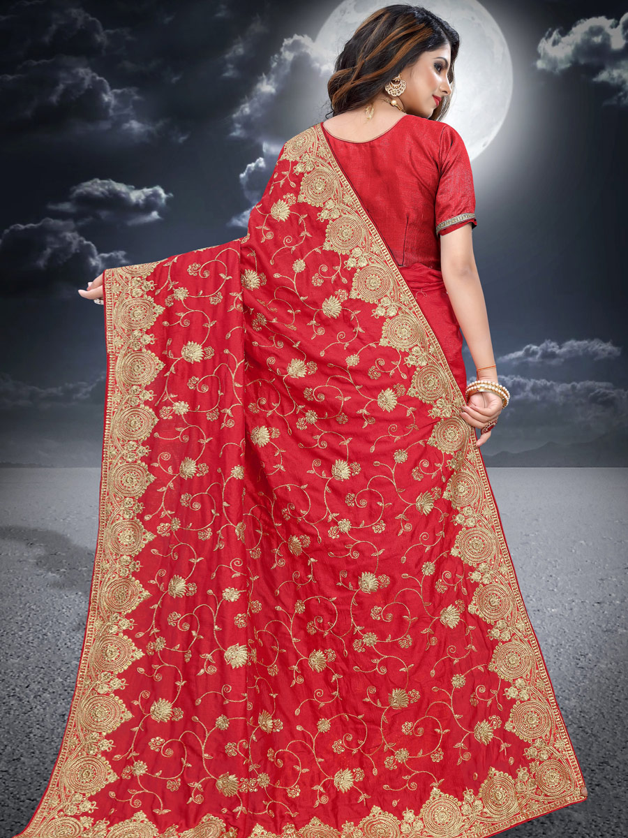Rose Madder Red Vichitra Silk Embroidered Festival Saree