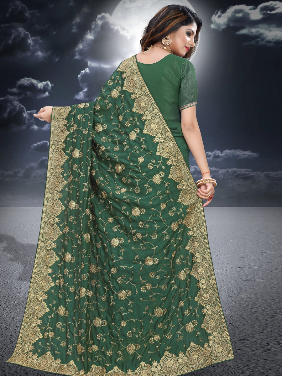 Hunter Green Vichitra Silk Embroidered Festival Saree