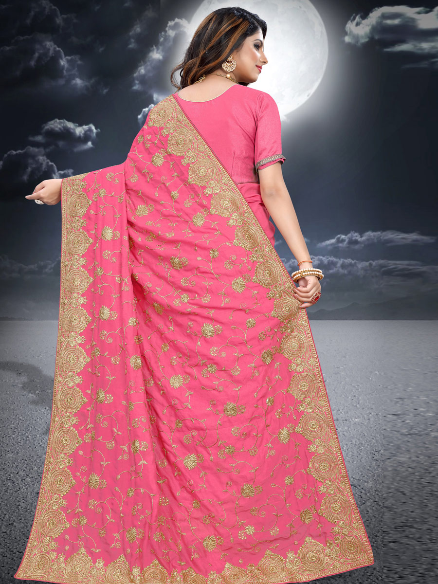 Salmon Pink Vichitra Silk Embroidered Festival Saree