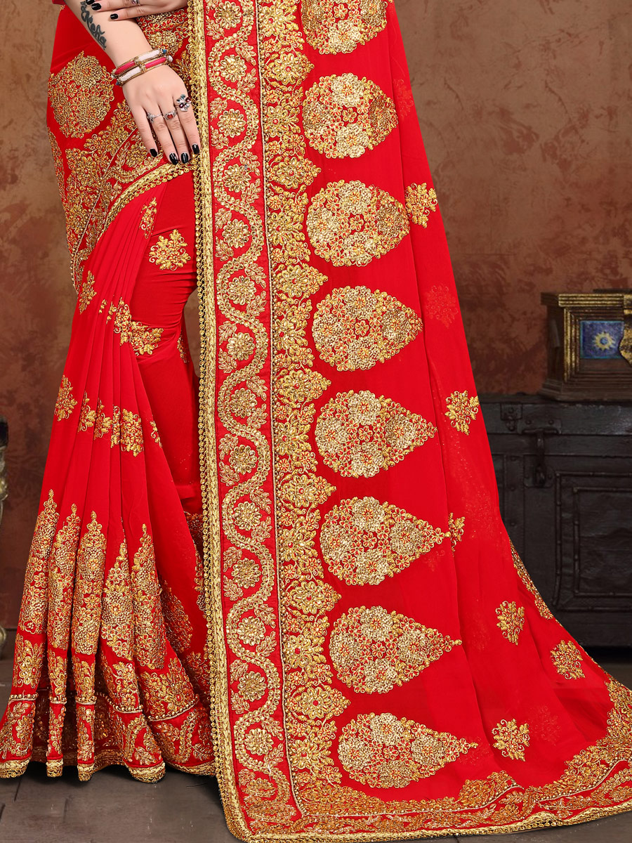 Vermilion Red Vichitra Silk Embroidered Festival Saree