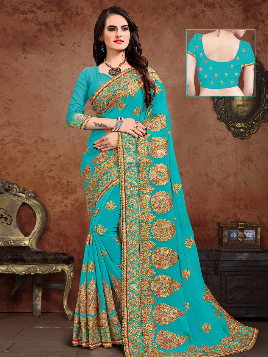 Bondi Blue Vichitra Silk Embroidered Festival Saree