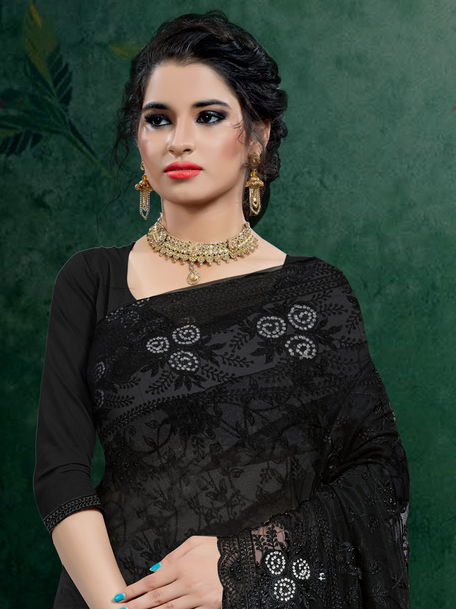 Black Net Embroidered Festival Saree