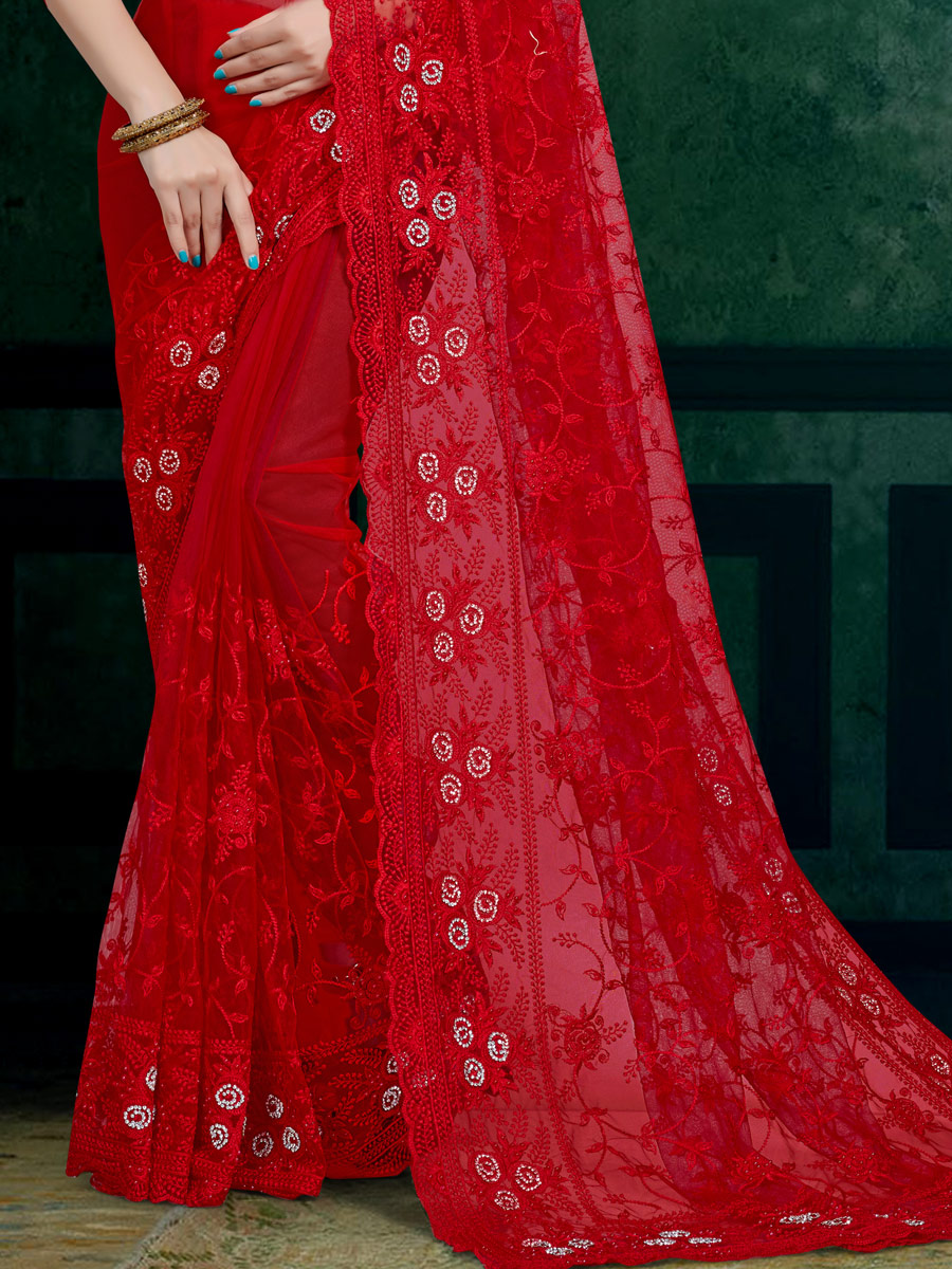 Rose Madder Red Net Embroidered Festival Saree