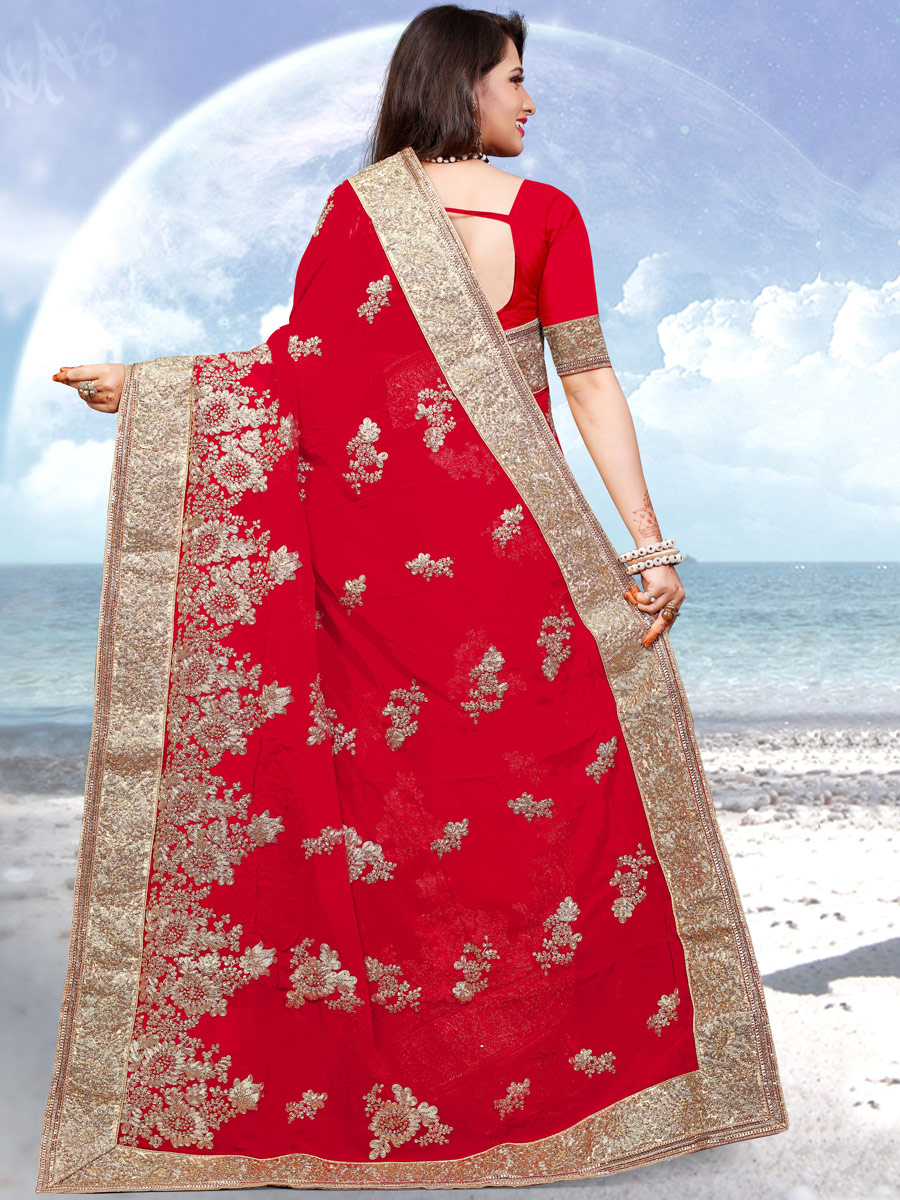 Rose Madder Red Faux Georgette Embroidered Festival Saree