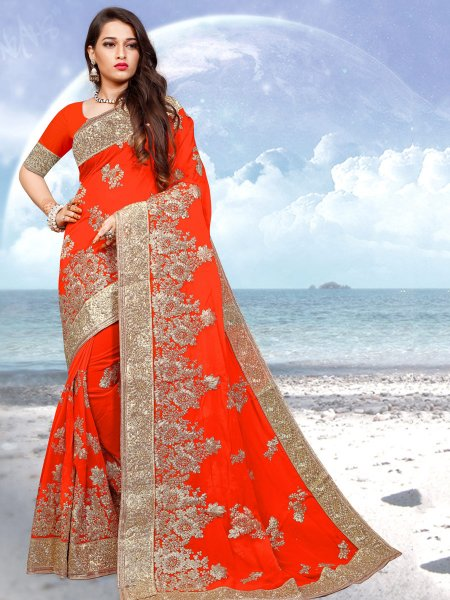 Vermilion Red Faux Georgette Embroidered Festival Saree
