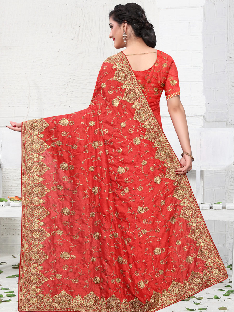 Rose Madder Red Vichitra Silk Embroidered Party Saree