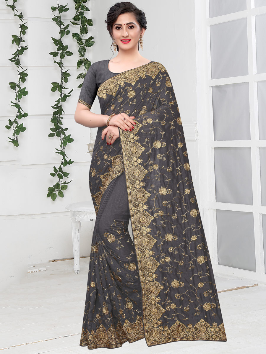 Dark Gray Vichitra Silk Embroidered Party Saree