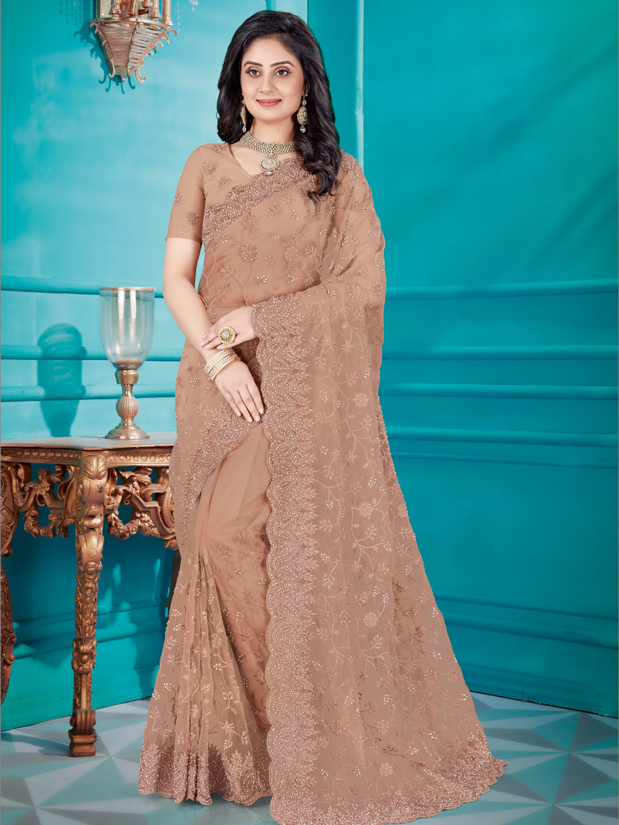 Fallow Brown Net Embroidered Festival Saree
