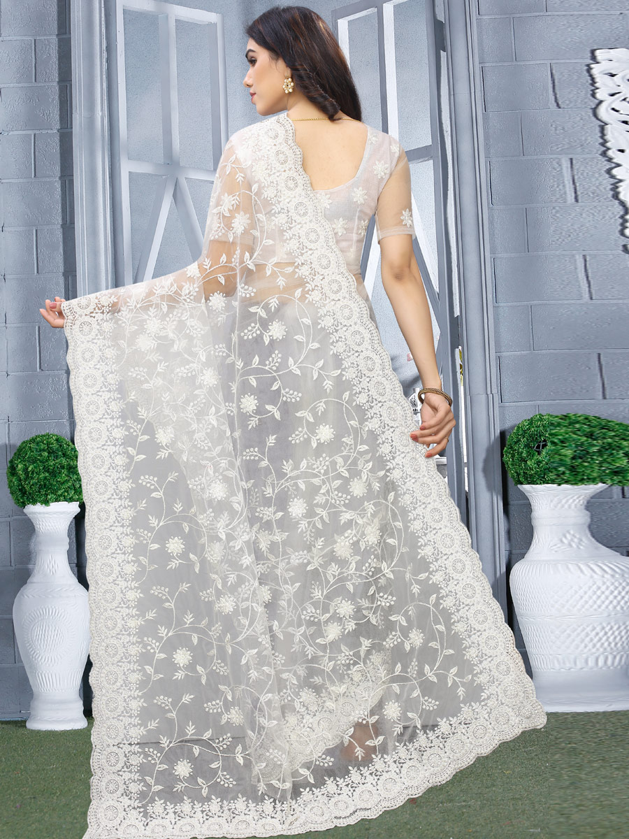 White Net Embroidered Party Saree