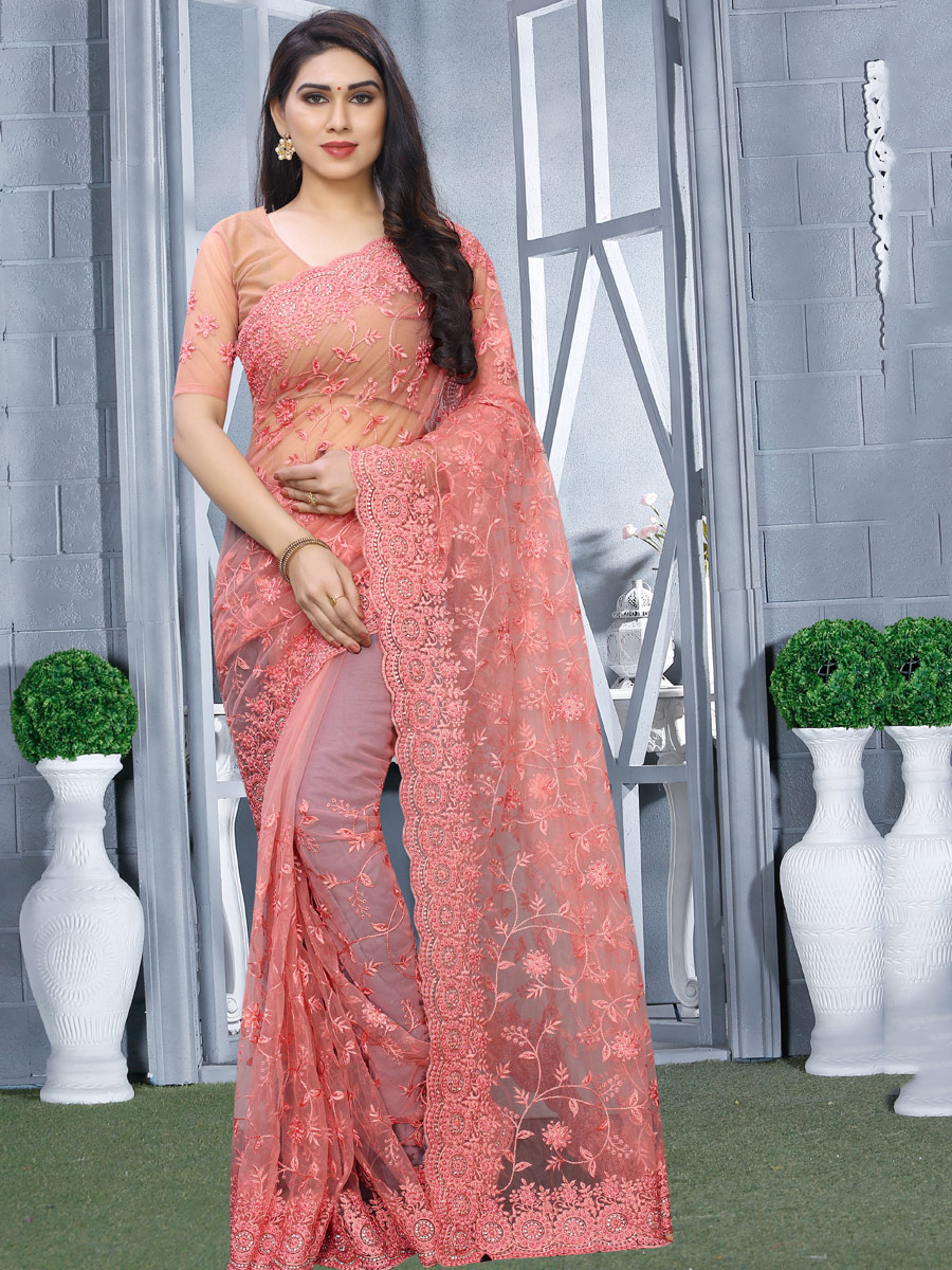 Light Pink Net Embroidered Party Saree