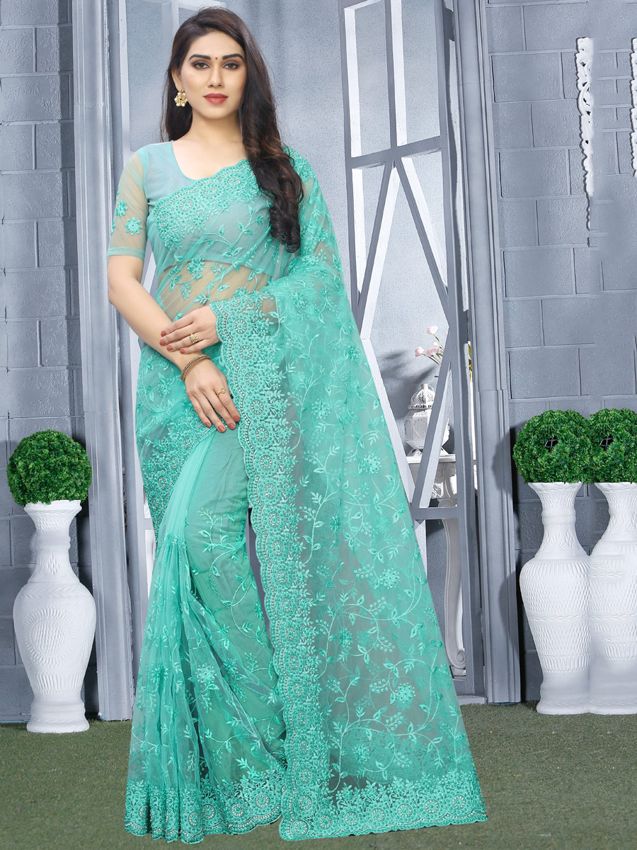 Sky Blue Net Embroidered Party Saree