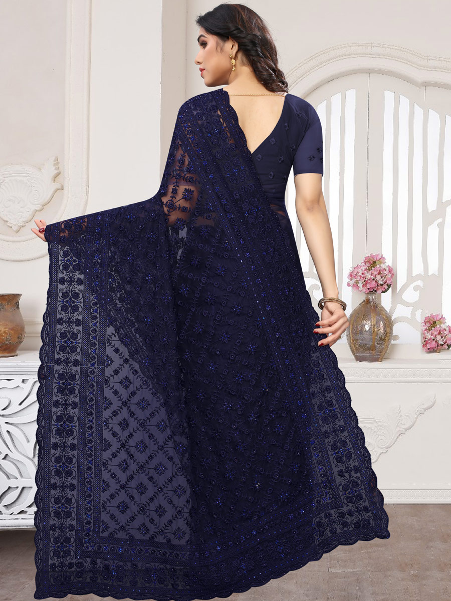 Navy Blue Net Embroidered Party Saree