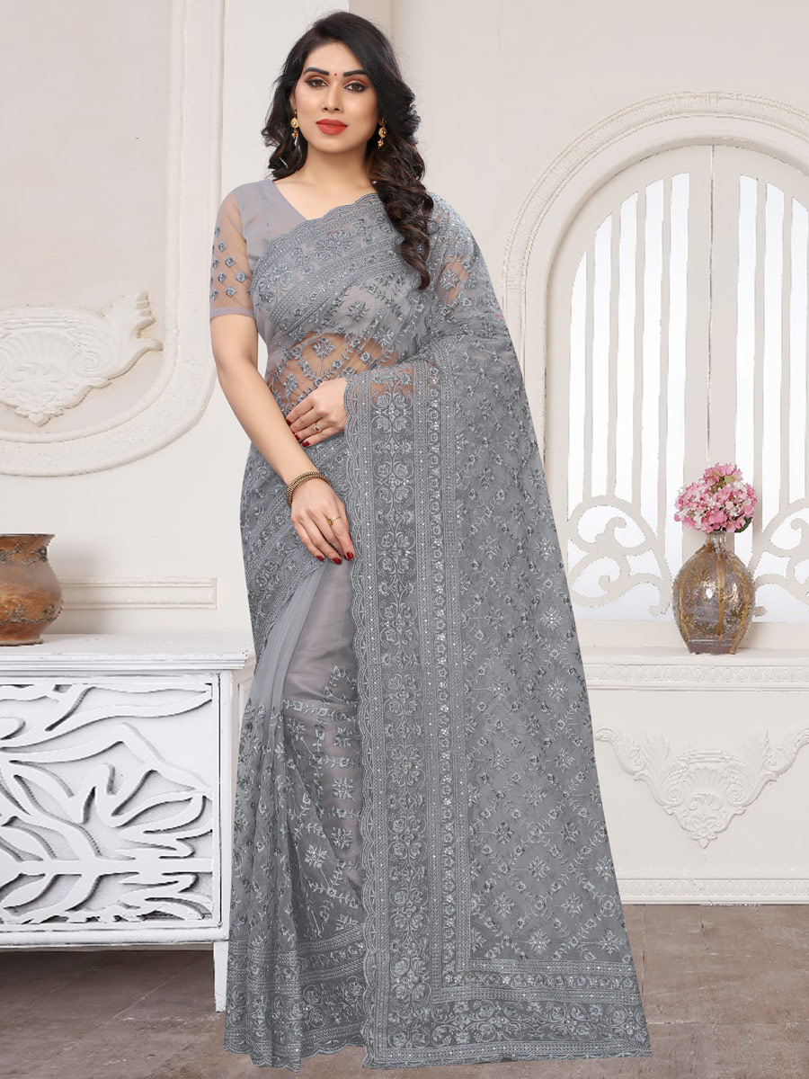 Gray Net Embroidered Party Saree