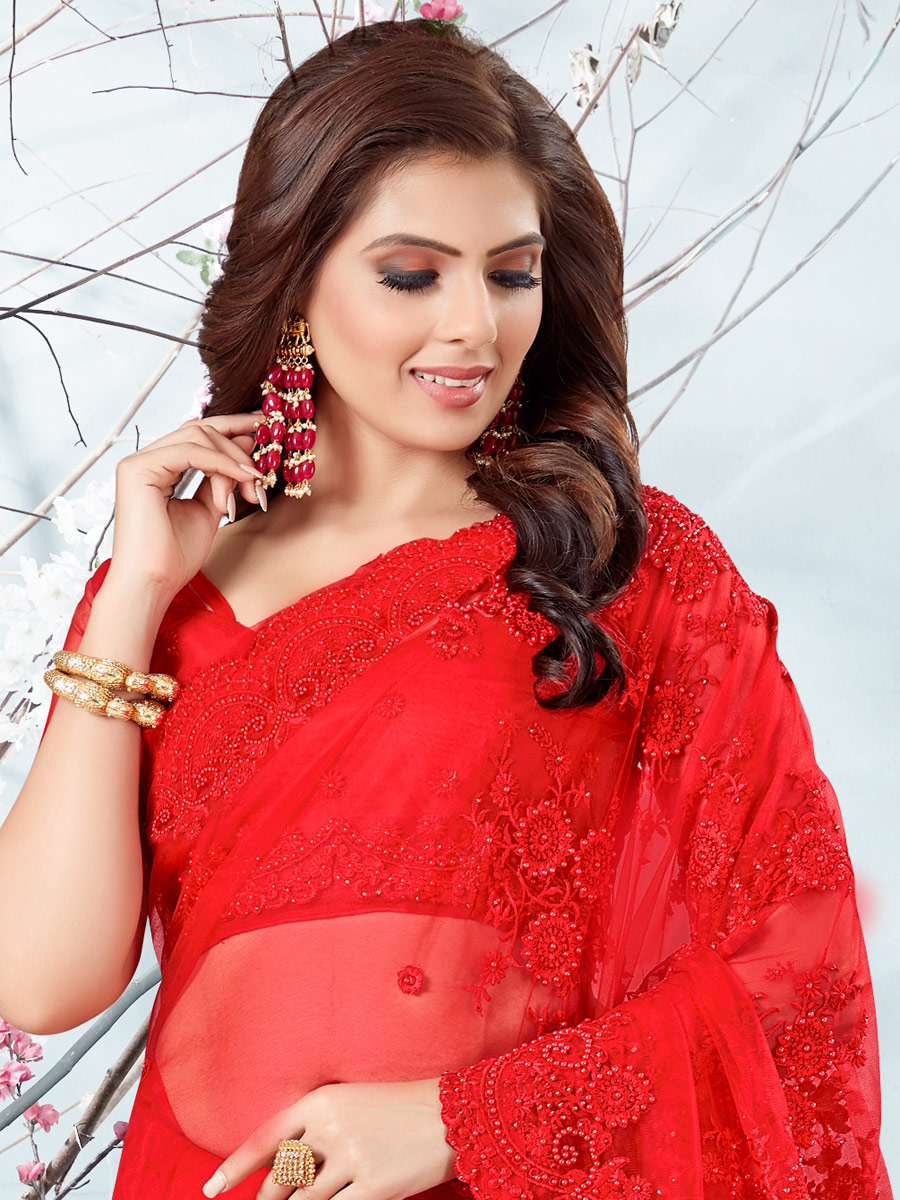 Vermilion Red Net Embroidered Festival Saree