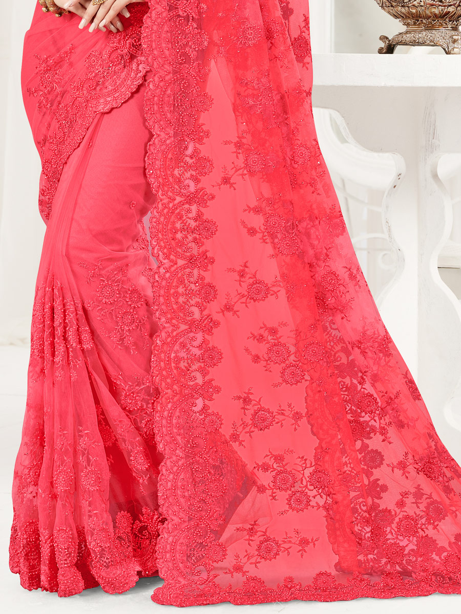 Carmine Pink Net Embroidered Festival Saree