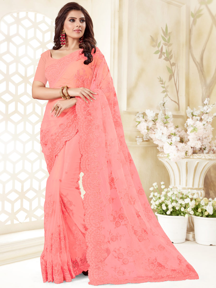 Brink Pink Net Embroidered Festival Saree