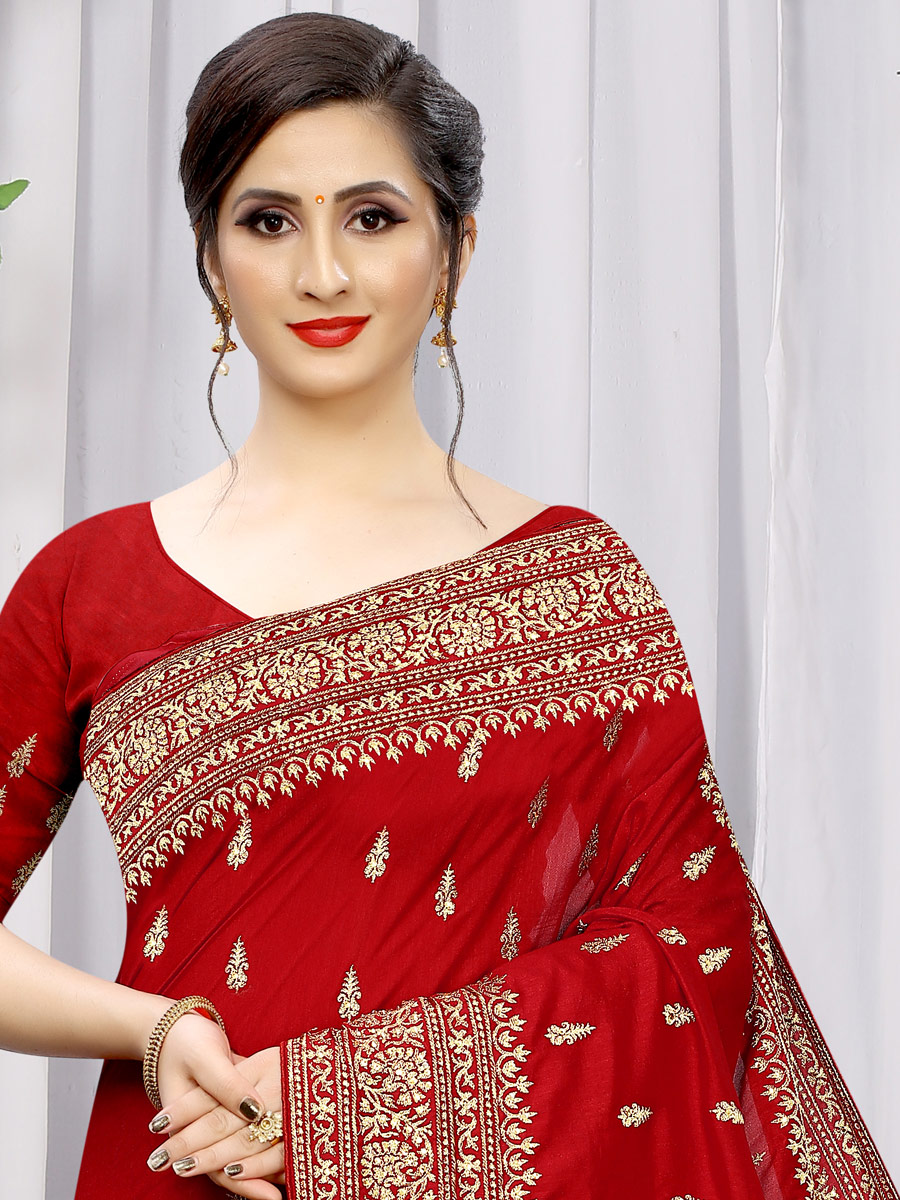Venetian Red Vichitra Silk Embroidered Party Saree