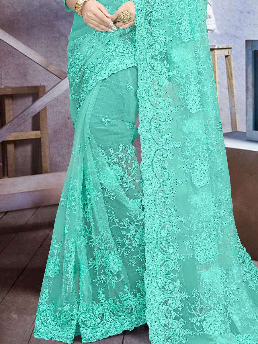Turquoise Blue Net Embroidered Festival Saree