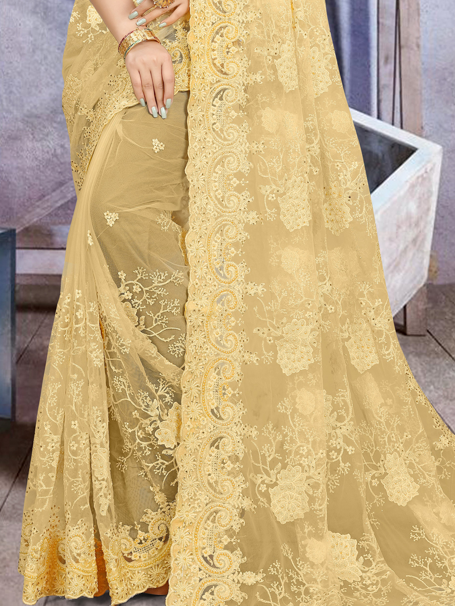 Jonquil Yellow Net Embroidered Festival Saree