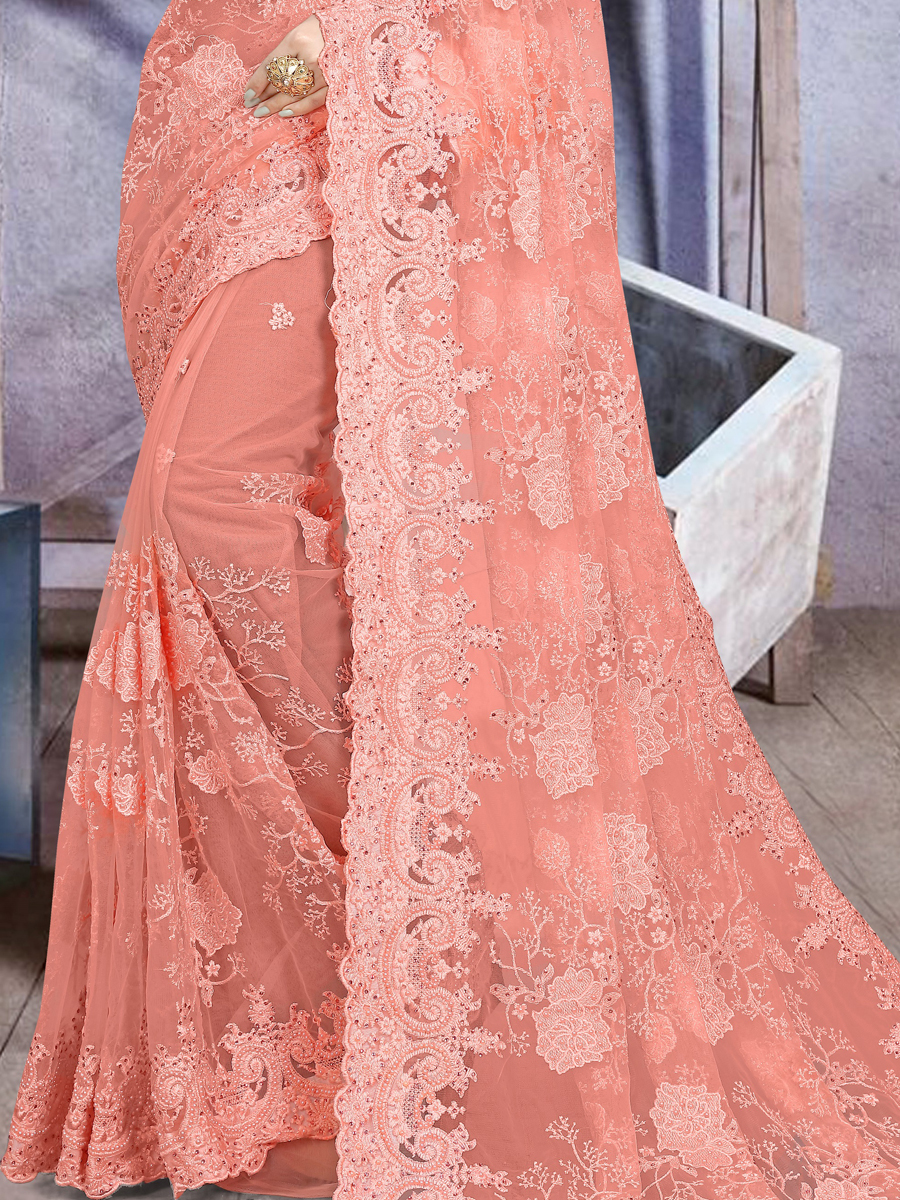 Coral Pink Net Embroidered Festival Saree